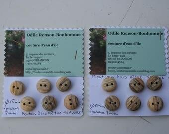 ribbed beech wood buttons - handmade - 15mm