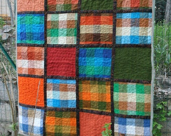 Plaid patchwork - pure linen upholstery-