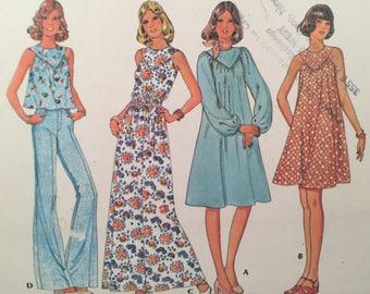 1970s Dress Pattern, McCall's 4562, Sewing Pattern, Misses Top, Sleeveless Top, Yoke Neck Dress, Zipper Dress, Long Sleeves, Mini Dress