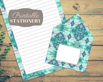 Southwestern Printable Stationery Set - Instant Download Letter Writing Sheets with Print-And-Fold Envelope