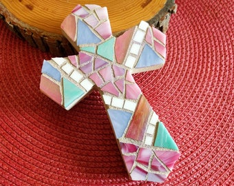 Handmade Pink Cross Wall Hanging, Pink Stained Glass Cross, Pink Mosaic Cross, Girl Baptism Cross Gift, Small Pink Crucifix