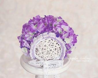 Sitter flower bonnet for 6-12 months old.Purple floral bonnet.Hydrangea sitter bonnet.Only one available.Photo prop. Ready to send