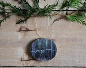 Tree Slice Christmas Ornament- Rustic tree decoration, Wood slice ornament, Joy with Nature Photography
