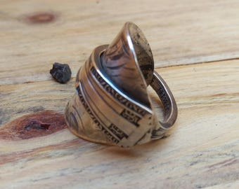 Antique Silver Plate - Upcycled Spoon Ring - Mens - Size U 1/2 (UK)
