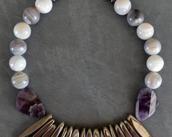 SUPER SALE Chunky Gemstone Necklace Botswana Agate Amethyst Titanium Plated Agate Sticks OOAK Statement Necklace Debbie Renee Beaded Strand