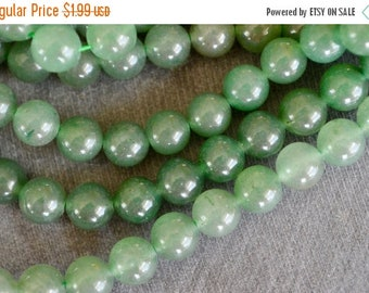 20% SALE 6mm Aventurine Gemstone Beads Green Stone Beads (15 beads) Round Stone Beads Shimery Green  6mm Stone Beads
