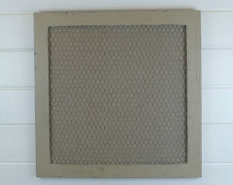 Notice Board Memo Board Pin Board Alternative. Hand made peg board - Country Grey frame with fine hessian backing