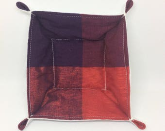 Textile Trinket Tray (red/purple squares)