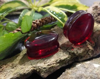 """Pair Solid Color Red Glass Teardrop Double Flared Saddle Plugs 16mm (5/8"""") 22.5mm (7/8"""") 26mm 28mm 1 1/8"""" 31.5mm 1 1/4"""" 35mm 1 3/8"""""""