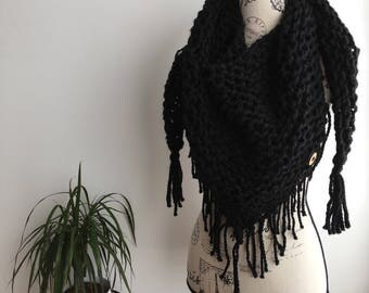 READY TO SHIP Black Triangle fringed scarf shawl, black triangle scarf, triangle scarf, fringe, fringe scarf, triangle fringe scarf