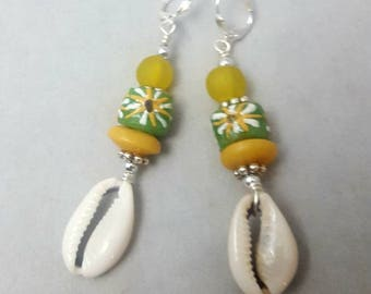 Cowrie Shell, Krobo Beads, Dangle Earrings, Ghana Beads, African Beads, African Glass Beads, Ghana  Beads, African , Afrocentric Earrings