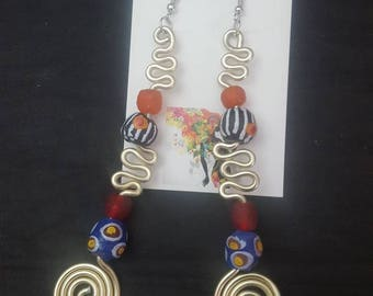 Krobo Beads, Dangle Earrings  Beads, African Glass Beads, Ghana  Beads, African , Afrocentric Earrings