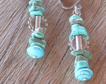 MOANA FETIA earrings, turquoise chips and silver