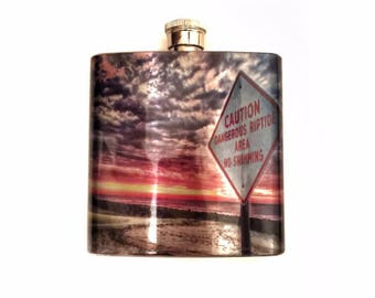 Dangerous Riptides Destination Wedding Party Favor Flask / Stainless Steel Flask For Women / Beach Gift