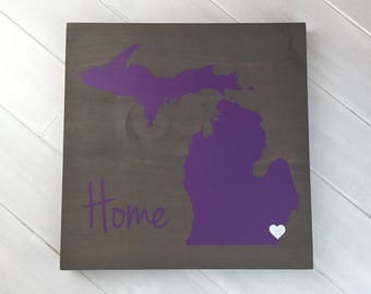 Pick Colors, Michigan Wood Sign, Michigan Sign, Hand Painted, State Guest Book, Michigan decor, Michigan art, Michigan plaque
