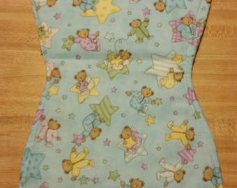 Bears in pajamas and stars   Baby burp cloth handmade