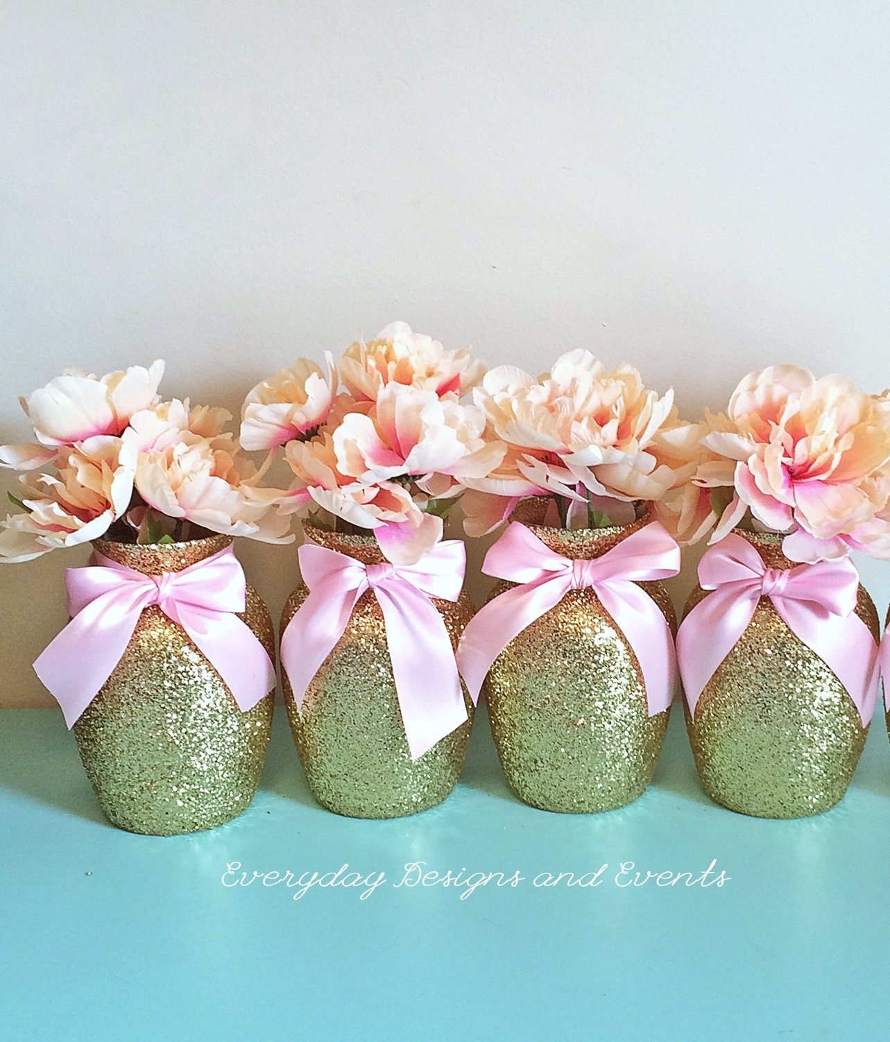 Gold pink vases baby shower decorations