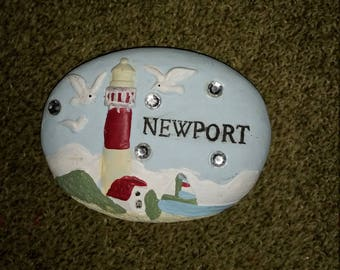 Nautical paperweight, Newport,Lighthouse, Ocean, Sailboat, Diamond Rhinestones Paperweight Cement Rock Handmade,Hand painted