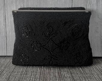 Vintage Beaded Black Walborg Purse / Handmade / 1960's clutch