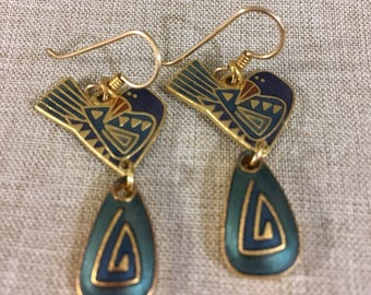 "Laurel Burch Vintage Matte Gold ""Peace"" Dangle Earrings"