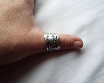 """Sterling Silver Spoon Ring, Spoon Ring, Sterling ring, Spoon Jewelry, bow, wreath, Sterling , """"Madam Jumel"""" by Whiting, 1908"""