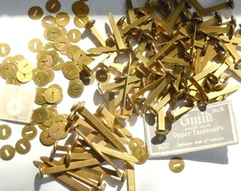 Paper Fasteners / 2 Sizes ....Brass / Stationers Guild of America / With washers.