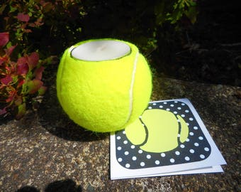 Tennis ball candle; gift for tennis lover, upcycled, recycled tennis balls