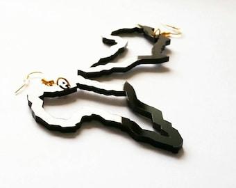 AFRIQUE | African Jewelry, Black acrylic laser cut earrings!