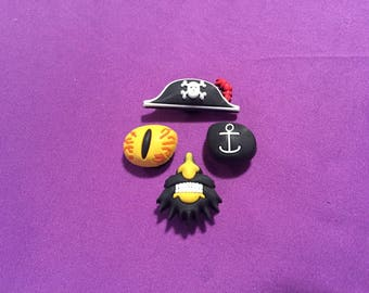 4-pc 3D Pirate Shoe charms for crocs