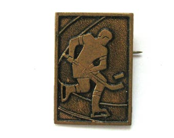 Ice hockey, Soviet Badge, Sport, Man, Sportsman, Vintage metal collectible badge, Soviet Vintage Pin, Made in USSR