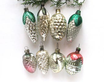 8 Pine cones, Soviet Christmas tree decorations, Set of 8, Glass Christmas ornament, New Year, Russian Toy, USSR, Soviet Union, 1970s