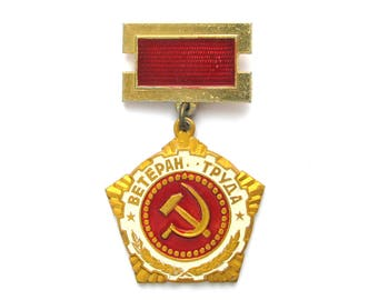 Veteran of Labour, USSR award, Badge, Communism, Vintage collectible metal badge, Made in USSR, 1980s