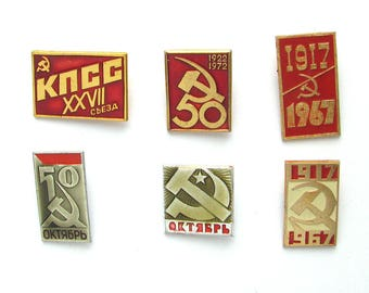 October Revolution, Badge, Pick from Set, October 1917, Communism, Vintage collectible badge, Pin, Soviet Union, Made in USSR