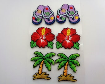 6 woven Stickers stickers tropical vacation patterns: flip flops, flowers and palm trees for Scrapbook - ref 8A