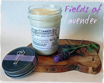 Fields of Lavender hand poured soy beeswax candle scent No. 63 The Villa | fragrance infused organic essential oils, small batch jelly jar