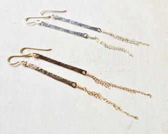 Vertical Bar Chain Earrings Gold or Silver, Long Bar Earrings, Hammered Bar Earrings