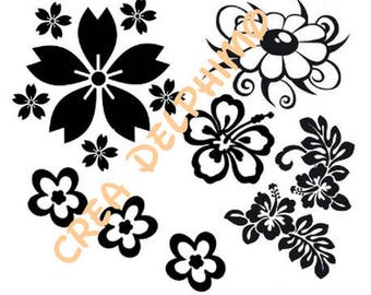 Black vinyl Stiker Board with various flowers