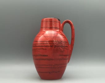 Scheurich Keramik 414  / 16 Red with black lines Mid Century Modern  vase  made in the 1970s . West Germany Pottery. WGP.