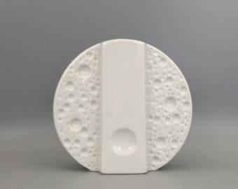 "Winterling Röslau Bavaria   1970s  Op Art white  porcelain ,, Mooncrater"" vase stylish Mid Century Modern , Germany."