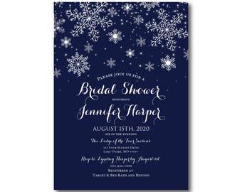 Winter Bridal Shower Invitations, Winter Snowflakes, Winter Wedding, Snowflake Wedding, Printed Bridal Shower Invitations #CL109