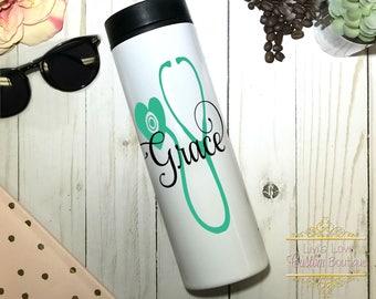 Personalized Nurse Mug - Gift for Nurse - Registered Nurse - CNA EMT - Coffee Mug - Stainless Steel - Stethoscope Mug - Graduation Gifts