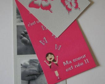Butterfly girl birth announcements