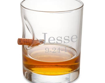 Bulletproof Lowball Whiskey Glass - Personalized Bar Ware - Man Cave Gifts - Groomsmen Gifts - Gifts for Men - Whiskey Glass - RO168