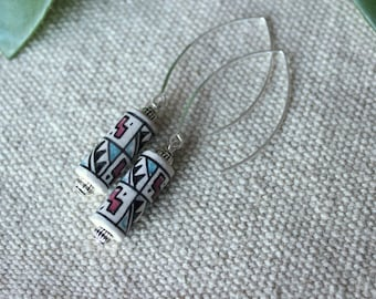 Earrings ethnic chic bead from Peru and long sleeper