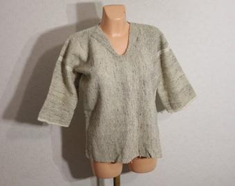 Wool Poncho Sweater Women handmade Sweater Sleeves 1/2 Dress Size Small