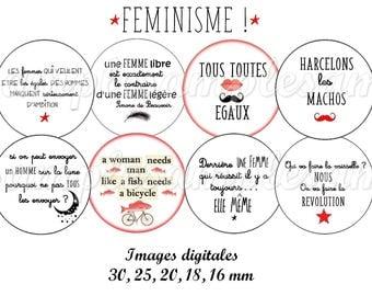 images digitales féministe femme citation image pour bijoux, image à imprimer, image cabochon, image badge, image miroir, collage digital