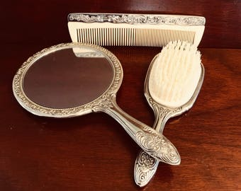 Vintage Vanity Dresser Set, Ornate Mirror comb and Brush Set, Silver Plated gift set, Gift for Her, Hollywood Regency, Valentines Day Gift