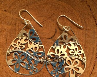 Sterling Silver Tear Drop Daisy ~ Open Work Daisies ~ Dangle Earrings