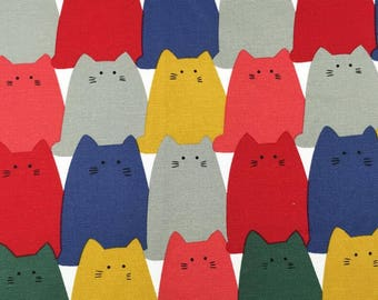 """150cmx100cm/59""""x39"""" Colorful Cats Cotton Thick Canvas Fabric"""