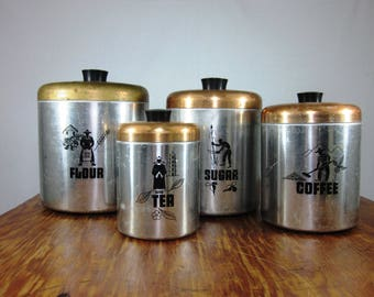 Vintage Chrome and Copper Colored Canisters - Set of 4!